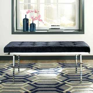 Modern Sleek Tufted Blue Velvet Accent Bench