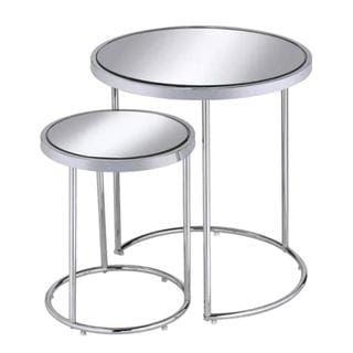 Modern Design Chrome Nesting Table Set with Mirror Top