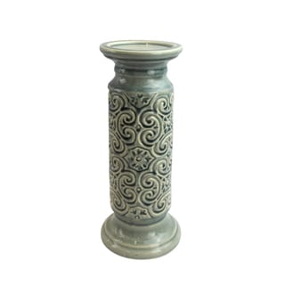 Blue Ceramic 12-inch Scroll Candle Holder