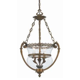 Crystorama Transitional 3-light Antique Brass Pendant