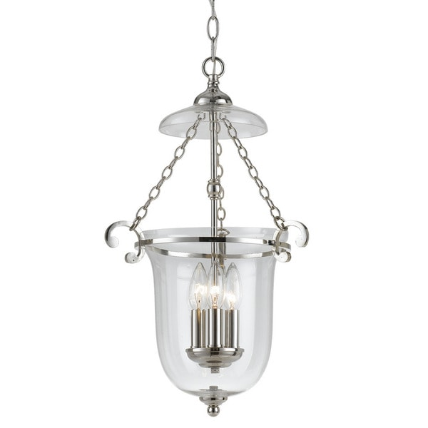 Crystorama Transitional 3-light Polished Nickel Pendant