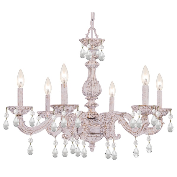 Crystorama Paris Market Collection 6-light Antique White/Swarovski Elements Strass Crystal Chandelier