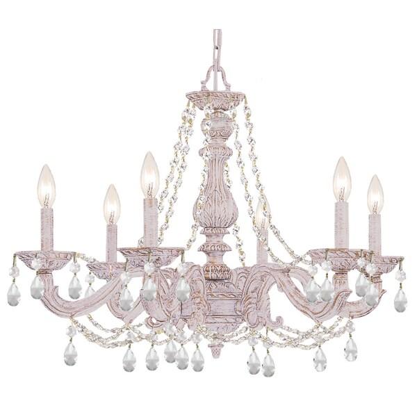 Crystorama Paris Market Collection 6-light Antique White/Swarovski Elements Strass Crystal Chandelier