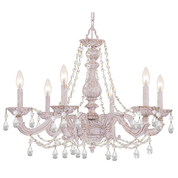 Crystorama Paris Market Collection 6-light Antique White/Crystal Chandelier