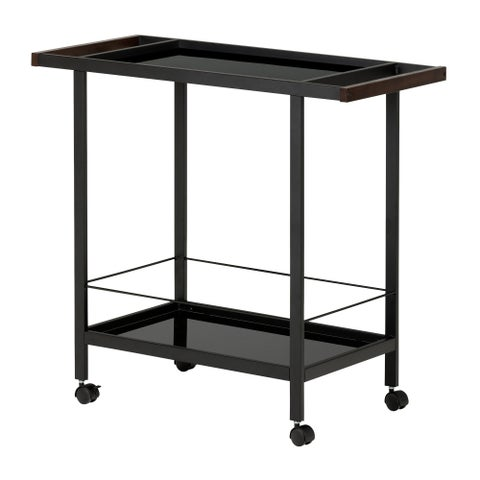 South Shore City Life Black Metal Bar Cart on Wheels
