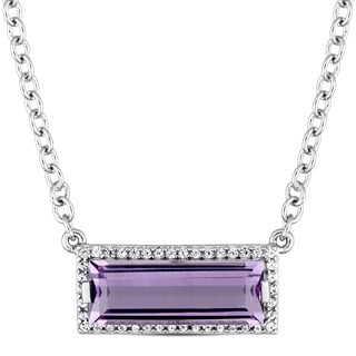 Miadora Sterling Silver Baguette-Cut African-Amethyst and Round-Cut White Sapphire Halo Necklace