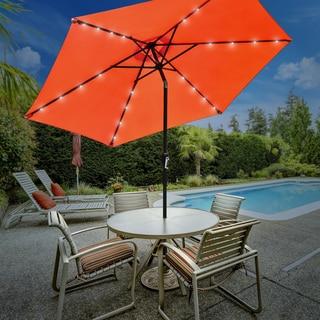 Sorbus Outdoor Umbrella, 10 ft Patio Umbrella with Tilt Adjustment and Crank Lift Handle (Solar LED - Orange)
