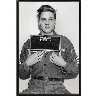 Elvis Presley - Enlistment Photo Poster on a Black Plaque (24x36)