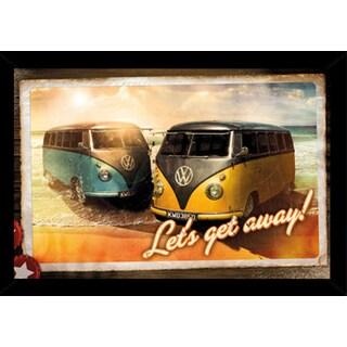 VW Lets Get Away Poster in a Black Poster Frame (36x24)