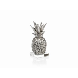 """10"""" Tall Tropical Pineapple Sculpture / Tabletop Décor, Silver"""