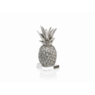 "10"" Tall Tropical Pineapple Sculpture / Tabletop Décor, Silver"