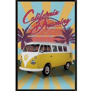 VW Cali Retro Poster on a Black Plaque