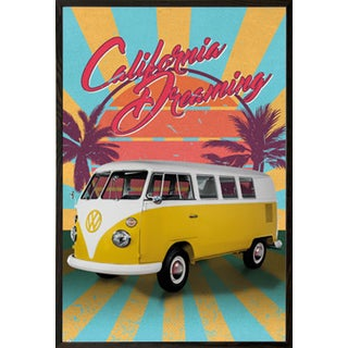 California Dreaming' Walnut Wood Framed Retro Poster