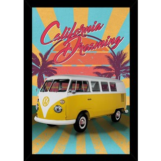 VW Cali Retro Poster in a Black Wood Frame (24x36)