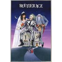 BeetleJuice Poster in a Silver Metal Frame (24x36)