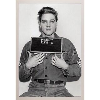 Elvis Presley Enlistment Photo' White Plastic Framed Poster