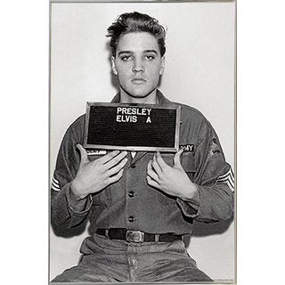 Elvis Presley - Enlistment Photo Poster in a Silver Metal Frame (24x36)