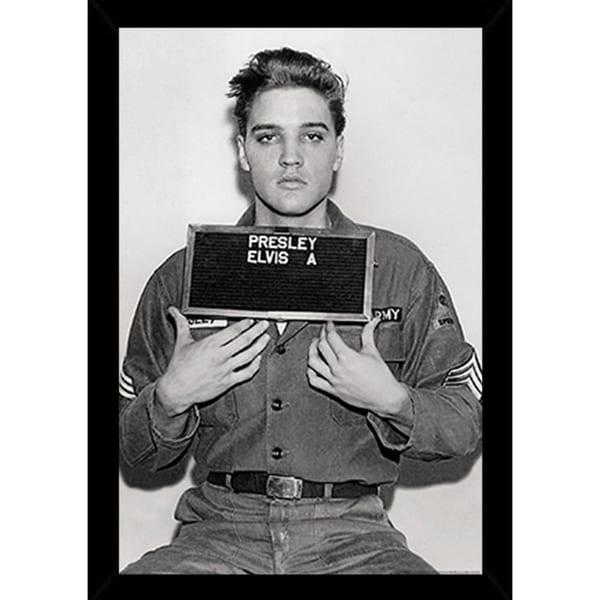 Elvis presley enlistment photo poser in a black poster frame 24x36