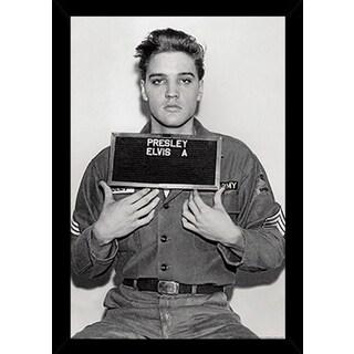 Elvis Presley - Enlistment Photo Poser in a Black Poster Frame (24x36)