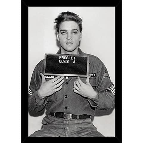 Elvis Presley - Enlistment Photo Poster in a Black Poster Frame (24x36)
