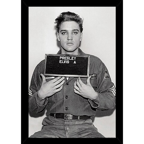 Elvis Presley - Enlistment Photo Poster in a Black Poster Frame (24x36)