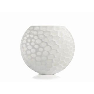 """Kenji"" 10.5"" Tall Dimpled Glass Vase, White"