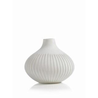 """Sakana"" 8"" Tall Glass Vase, White"