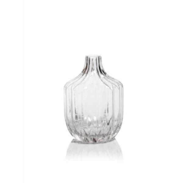 Astrud 9 Tall Glass Short Neck Vase Ribbed Pattern Free