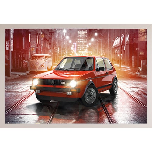 59645c3ad Shop VW Golf GTI  White Plastic Framed Poster - Free Shipping Today -  Overstock - 16372898