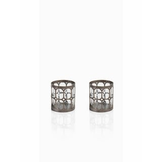 """""""Loire"""" 4"""" Tall Guilded Silver Hurricane Candle Holder (Set of 2)"""