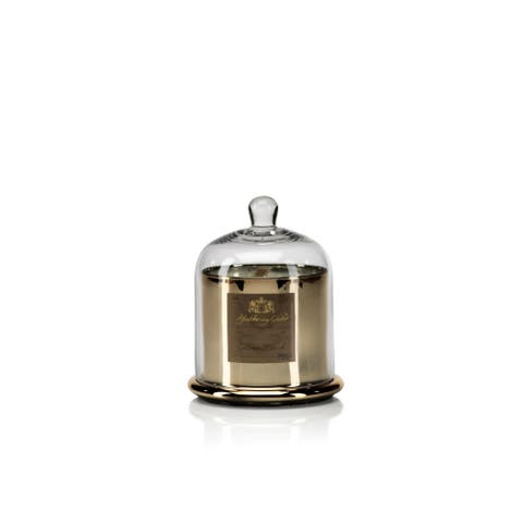 Large Glass Jar Candle with Bell Cloche, Golden Beach Scent