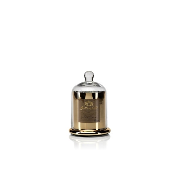 Medium Glass Jar Candle with Bell Cloche, Golden Beach Scent (Set of 2)