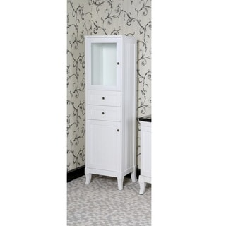 Infurniture Country-style White Wood 74-inch Linen Tower