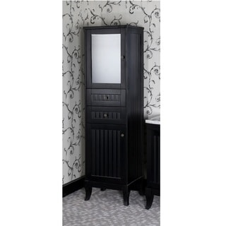 Infurniture Black Wood 74-inch Country Style Linen Tower