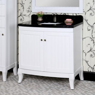 Infurniture Country-style White Wood 36-inch Black Marble Top Single-sink Bathroom Vanity