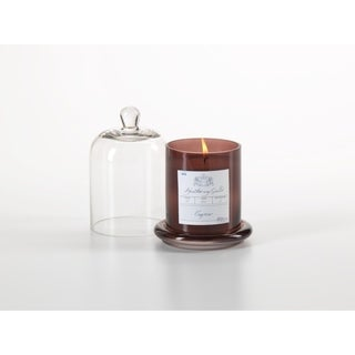 Medium Glass Jar Candle with Bell Cloche, Cognac Scent (Set of 2)