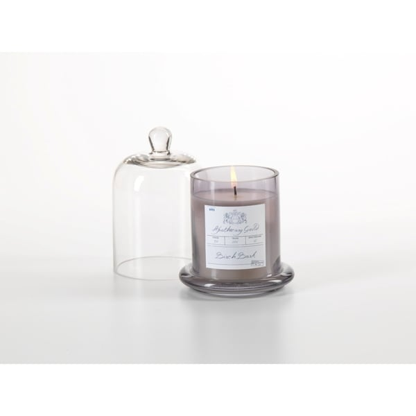 Small Glass Jar Candle with Bell Cloche, Birch Bark Scent (Set of 2)