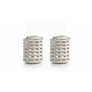 """Briza"" 7"" Tall Ceramic Decorative Candle Lantern, White (Set of 2)"