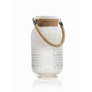 """Nessa"" 6"" Diameter Glass and Rope Decorative Candle Lantern"