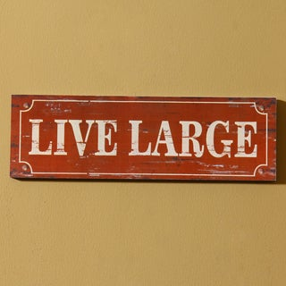 Adeco 'Live Large' Hanging Wall Plaque