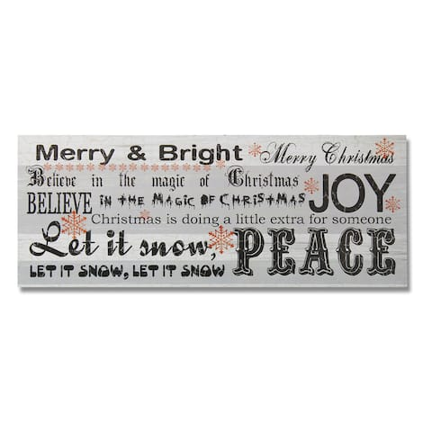Christmas Word Collage Wood Wall Hanging Sign Plaque