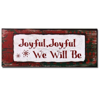 Adeco Red/Green Wood 'Joyful' Wall Plaque