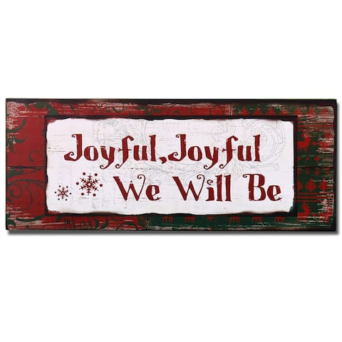 Adeco Red/Green Wood 'Joyful' Wall Plaque