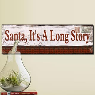 Adeco Red/White Wood 'Santa, It's a Long Story' Wall Plaque