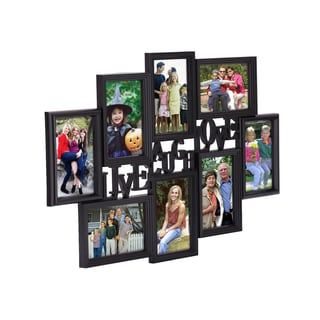 Adeco Black Plastic 'Live, Laugh, Love' Photo Collage Frame