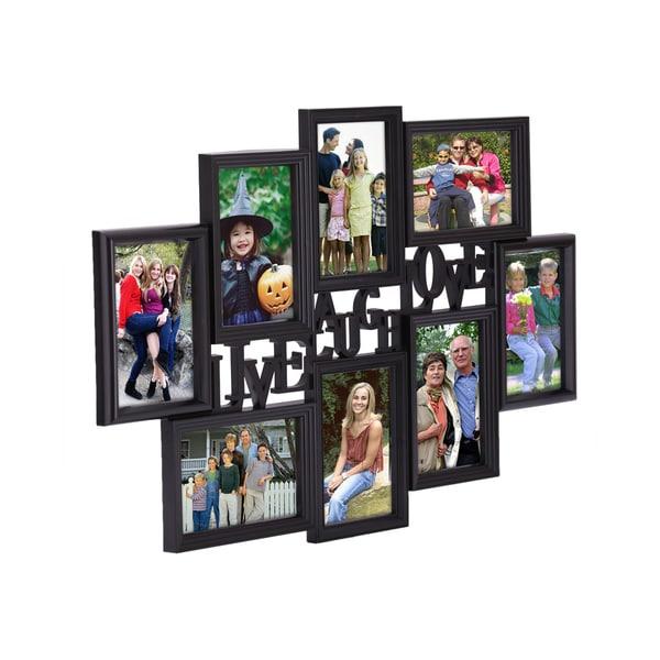Shop Adeco Black Plastic Live Laugh Love Photo Collage Frame
