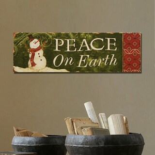 'Peace on Earth' Green Wood Christmas Wall Sign Plaque