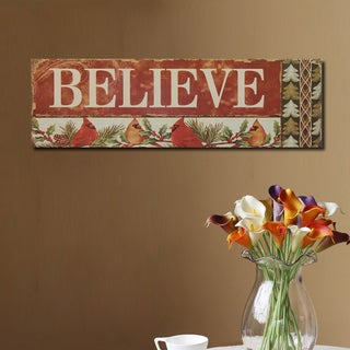 'Believe' Red Wood Decorative Wall Sign Plaque