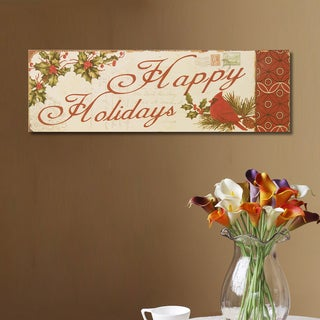 Adeco 'Happy Holidays' Multicolored Wood Wall Plaque
