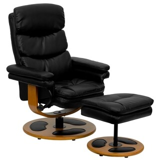 Muldal Black Leather Wood Base Swivel Recliner and Ottoman Set